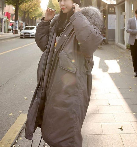 Image of Medium And Long   Damaoling Body Thick Large Size Loose Worksuit Jacket Gray xl