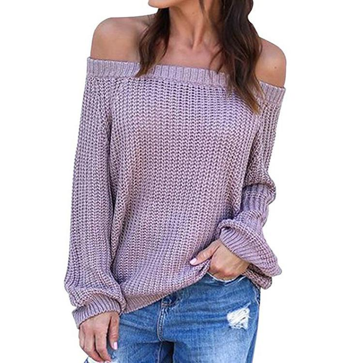 Pure Color Sexy Off The Shoulder Lantern Sleeve Sweater Purple s