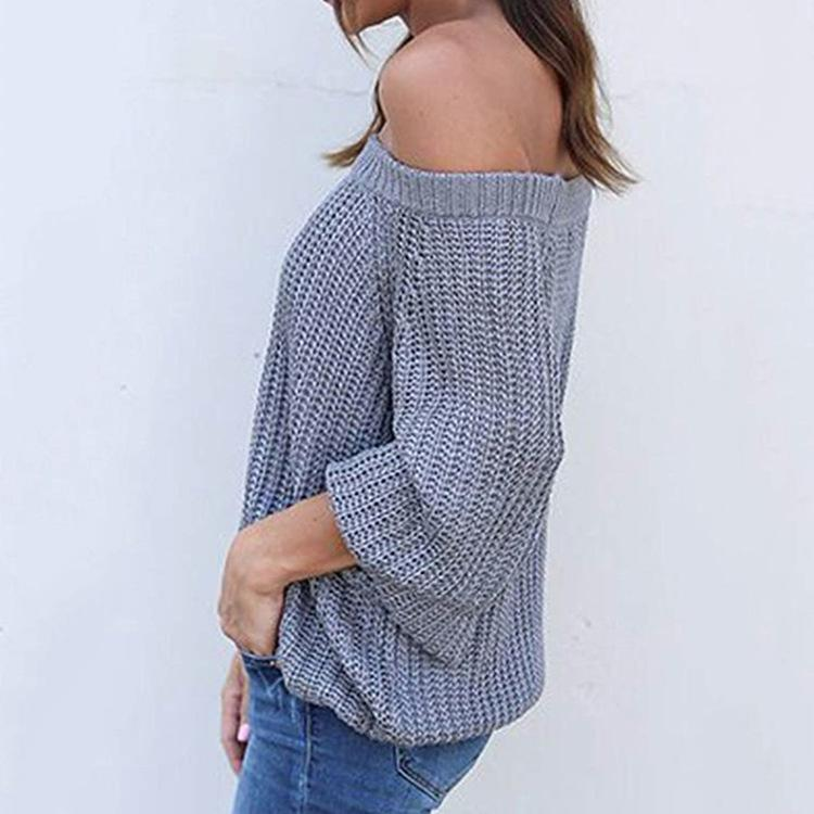 Pure Color Sexy Off The Shoulder Lantern Sleeve Sweater Gray xl