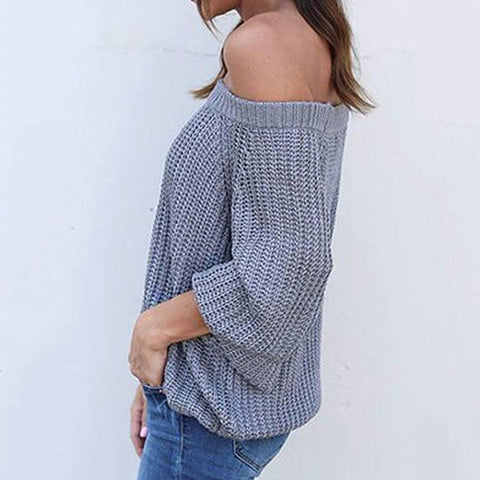 Image of Pure Color Sexy Off The Shoulder Lantern Sleeve Sweater Gray xl
