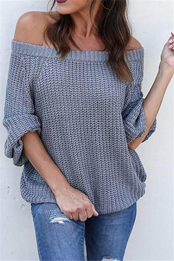 Pure Color Sexy Off The Shoulder Lantern Sleeve Sweater Gray s