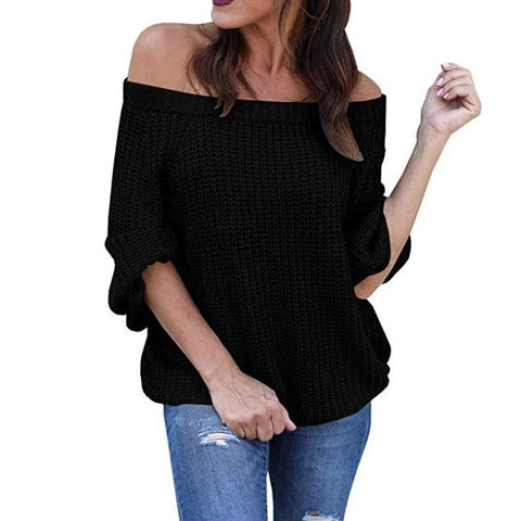 Image of Pure Color Sexy Off The Shoulder Lantern Sleeve Sweater Purple xl