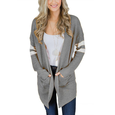 Image of Pinstripe Sleeves In Color Matching Long Knitted Cardigan Sweater Gray s