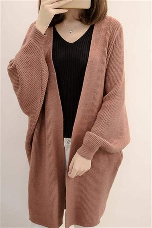 Pure Color  Long Knit Cardigan In The Bat Sleeve Light Brown one size