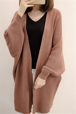 Image of Pure Color  Long Knit Cardigan In The Bat Sleeve Light Brown one size