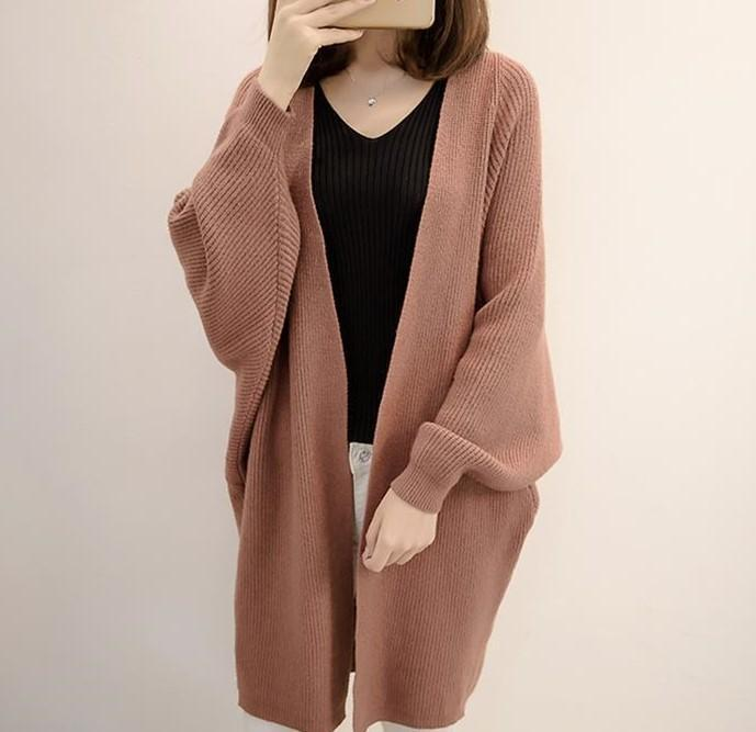 Pure Color  Long Knit Cardigan In The Bat Sleeve Beige one size