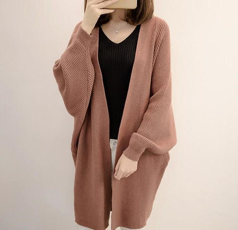 Image of Pure Color  Long Knit Cardigan In The Bat Sleeve Beige one size