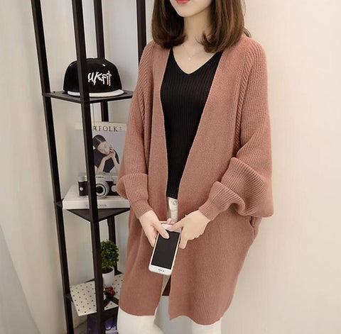 Image of Pure Color  Long Knit Cardigan In The Bat Sleeve Black one size