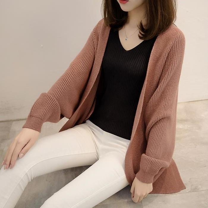 Pure Color  Long Knit Cardigan In The Bat Sleeve Khaki one size