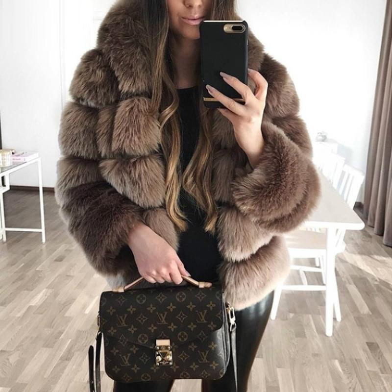 Turtle Neck Long Sleeve Elegant Fur Coat