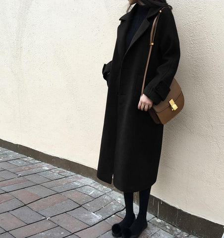 Image of Large Size Warm Coat   In Autumn And Winter Black m