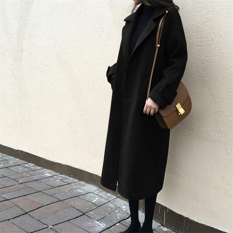 Large Size Warm Coat   In Autumn And Winter Black l