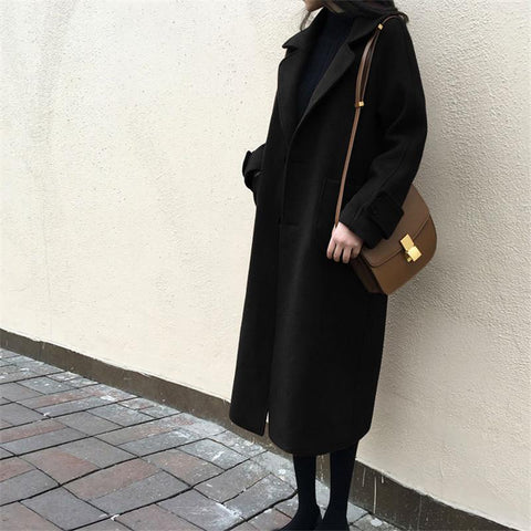 Image of Large Size Warm Coat   In Autumn And Winter Black l