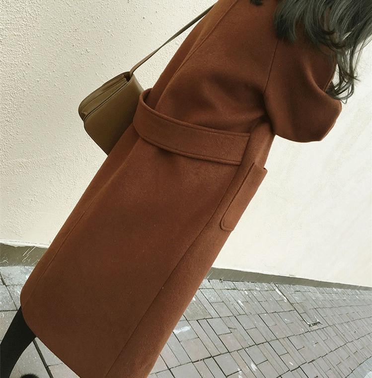 Large Size Warm Coat   In Autumn And Winter Brown m