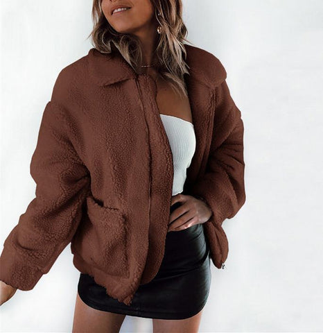 Image of Autumn And Winter   Fashion Zipper Plush Comfort Warm Jacket Camel l