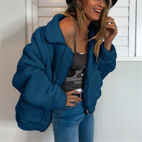 Image of Autumn And Winter   Fashion Zipper Plush Comfort Warm Jacket Royal Blue m