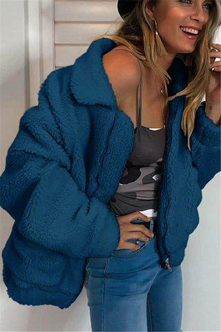 Image of Autumn And Winter   Fashion Zipper Plush Comfort Warm Jacket Royal Blue s