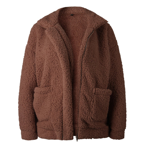 Image of Autumn And Winter   Fashion Zipper Plush Comfort Warm Jacket Camel xl