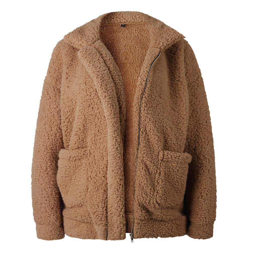 Autumn And Winter   Fashion Zipper Plush Comfort Warm Jacket Camel s