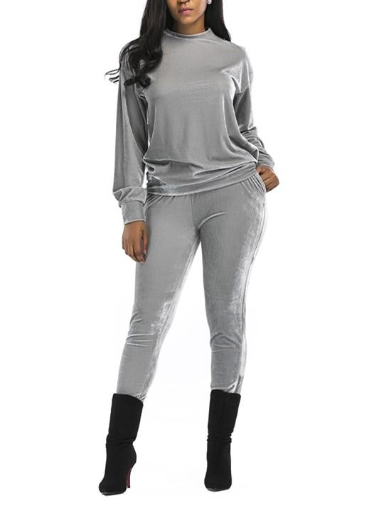 Casual Fashion Sport Suit Of Golden Fleece Gray l
