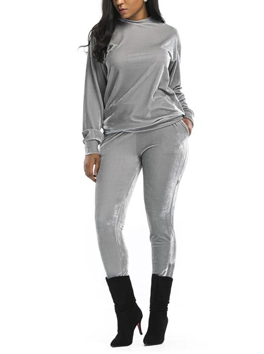 Casual Fashion Sport Suit Of Golden Fleece Gray xl