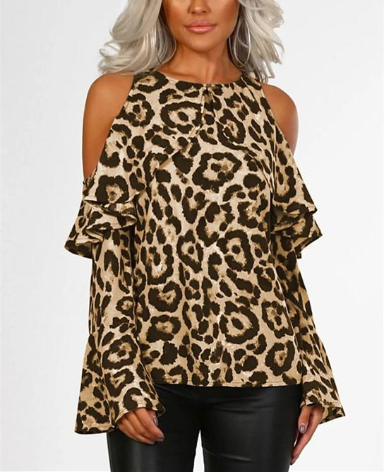 Sexy Leopard Print   With Long Sleeves And Bare Shoulders Khaki s