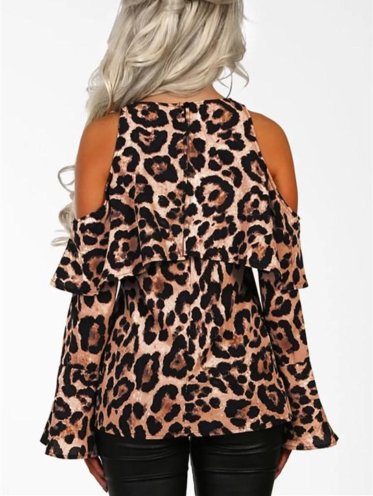Sexy Leopard Print   With Long Sleeves And Bare Shoulders Brown l