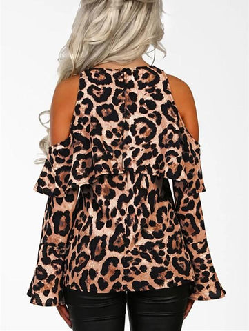 Image of Sexy Leopard Print   With Long Sleeves And Bare Shoulders Brown l