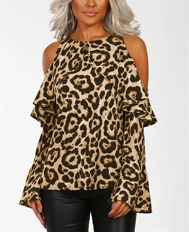 Image of Sexy Leopard Print   With Long Sleeves And Bare Shoulders Brown xl