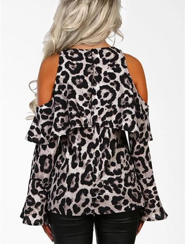 Image of Sexy Leopard Print   With Long Sleeves And Bare Shoulders Gray xl