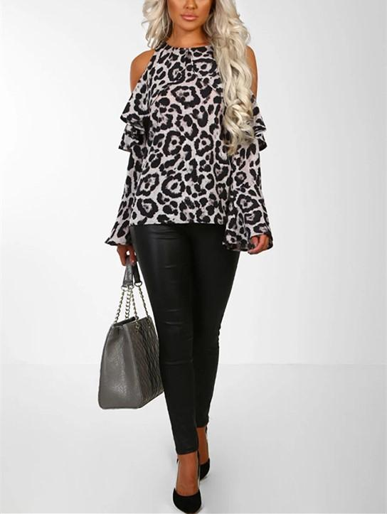 Sexy Leopard Print   With Long Sleeves And Bare Shoulders Brown s