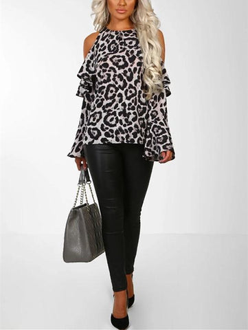 Image of Sexy Leopard Print   With Long Sleeves And Bare Shoulders Brown s