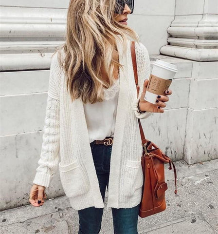 Image of Pure Color Double   Pocket Knit Cardigans White m