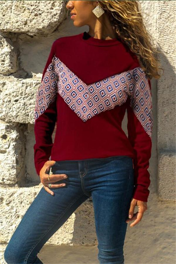 Patterned Two-Tone Long Sleeve T-Shirt With Round Neck Claret s