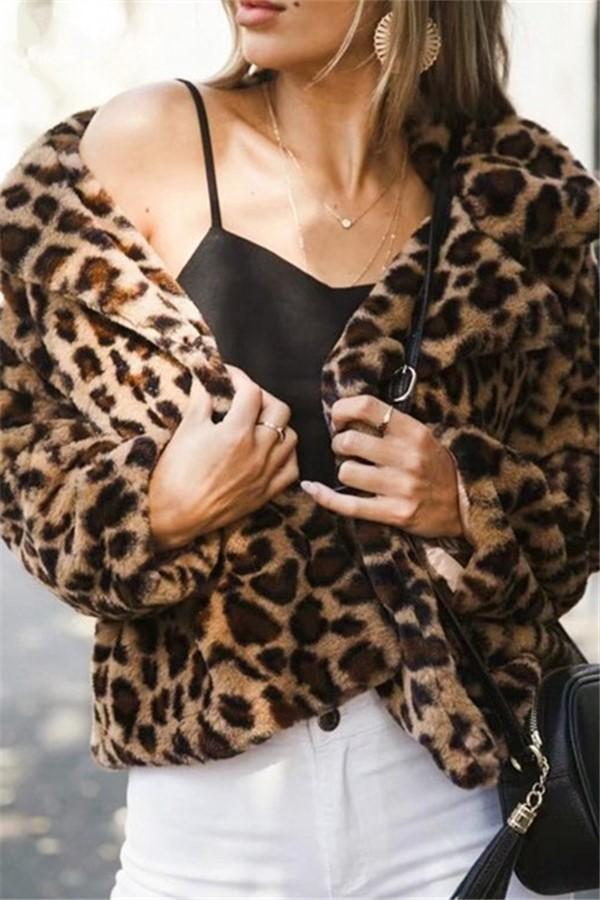 Leopard Print   Fur-Patterned Fur Lapel Coat Same As Photo s