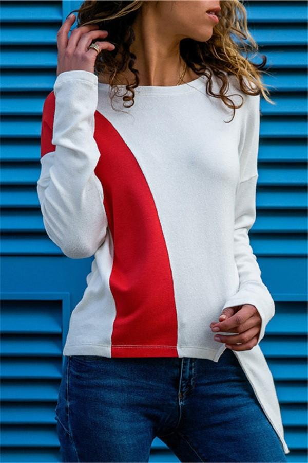 Colour Piece Spliced   Casual Long Sleeved Blouse White s