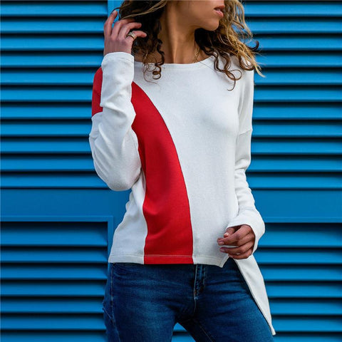 Image of Colour Piece Spliced   Casual Long Sleeved Blouse White m