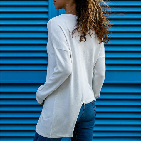 Image of Colour Piece Spliced   Casual Long Sleeved Blouse White l