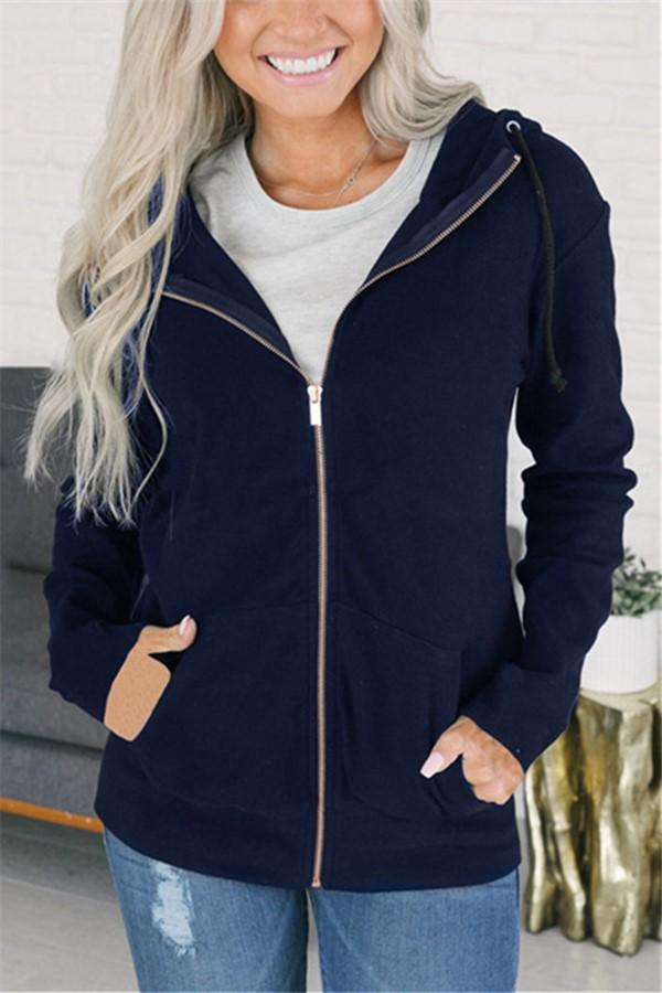 Fashion Long Sleeve   Solid Color Zip Top Dark Blue s