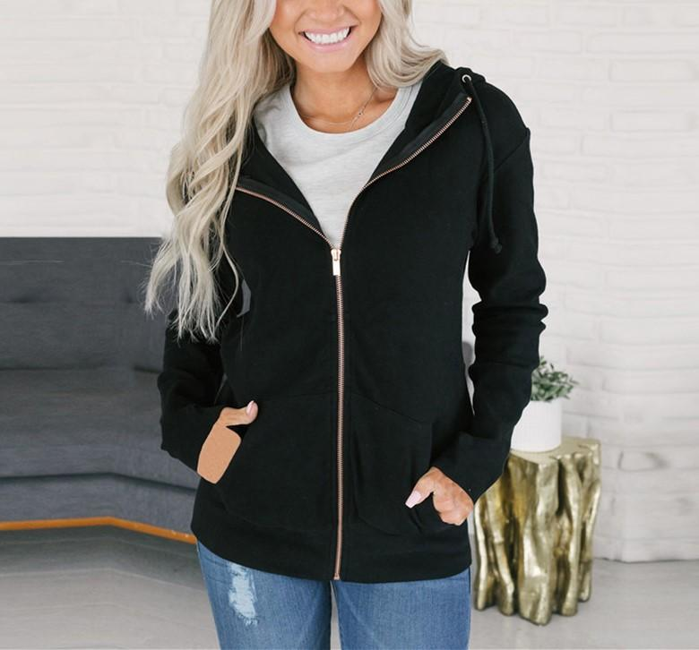 Fashion Long Sleeve   Solid Color Zip Top Dark Blue 2xl