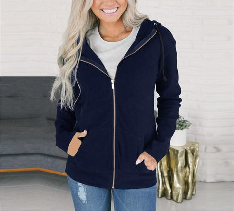 Image of Fashion Long Sleeve   Solid Color Zip Top Dark Blue m