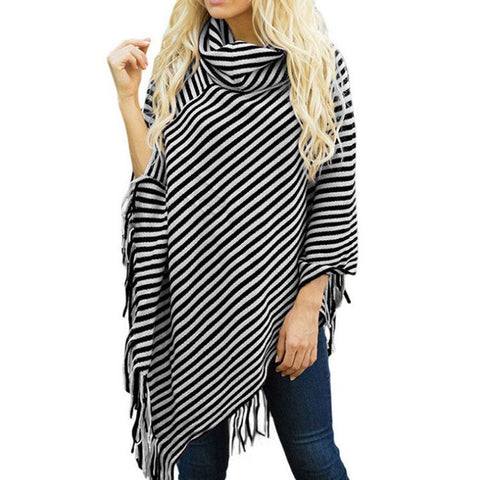Image of Fashion High Collar Striped Fringe Sweater Claret one size
