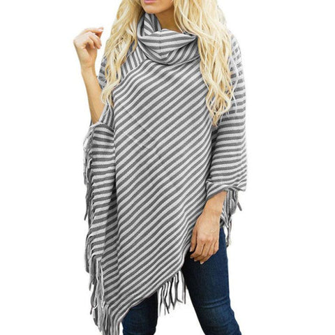 Image of Fashion High Collar Striped Fringe Sweater Green one size