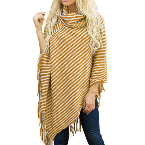 Image of Fashion High Collar Striped Fringe Sweater Pink one size