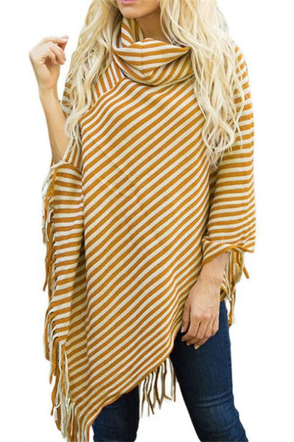 Fashion High Collar Striped Fringe Sweater Yellow one size
