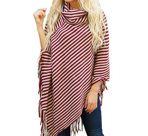 Image of Fashion High Collar Striped Fringe Sweater