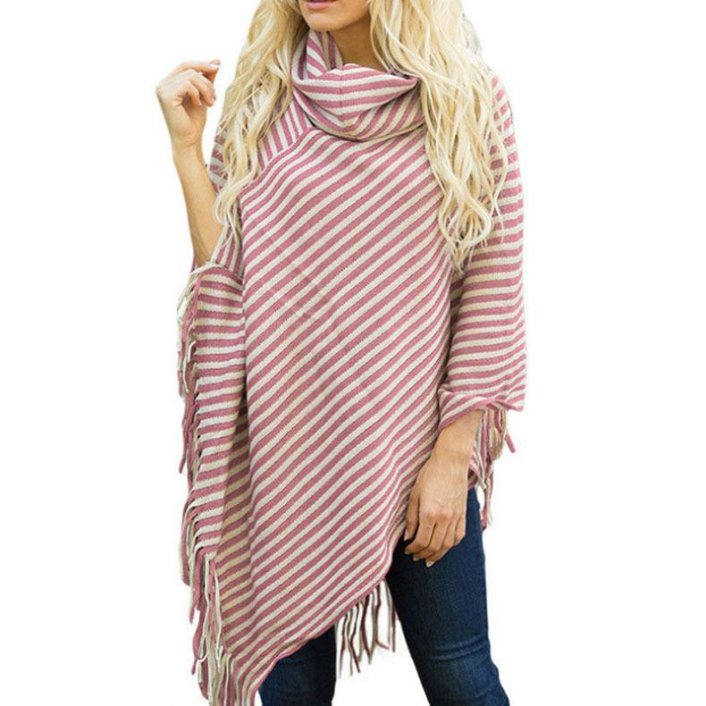 Fashion High Collar Striped Fringe Sweater Red one size