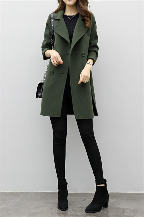 Pure Color Medium Long   Double Breasted Woolen Coat Army Green s