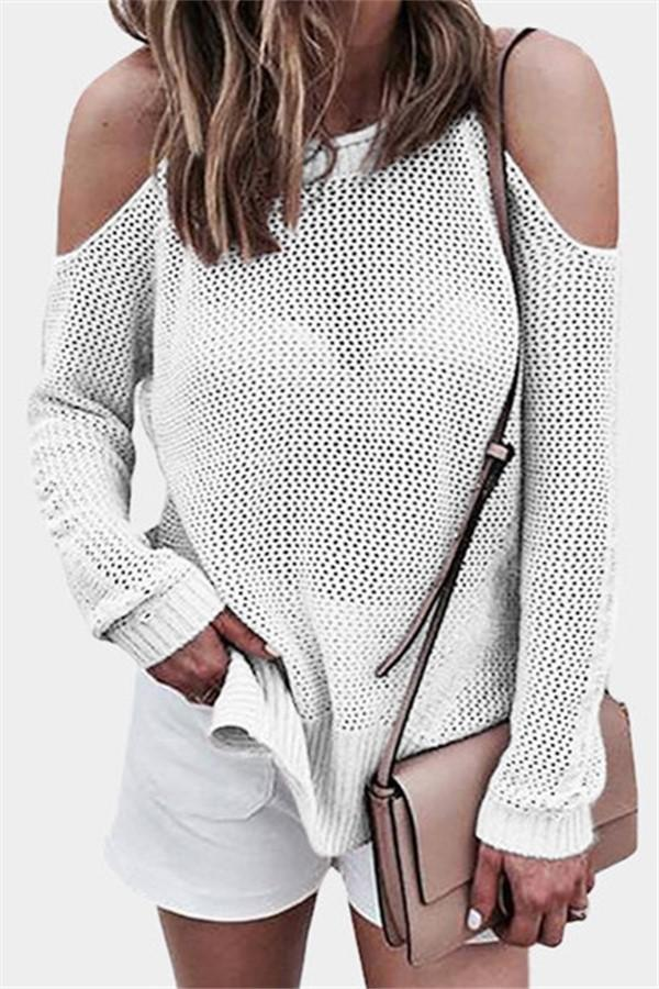 Fashion Knitted Open Strap Sweater White s