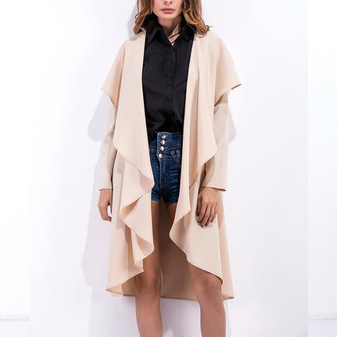 Image of Fashion Asymmetrical Collar Long Sleeve Plain Trench Coats Apricot 2xl